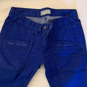 blue Free People moto style jeans